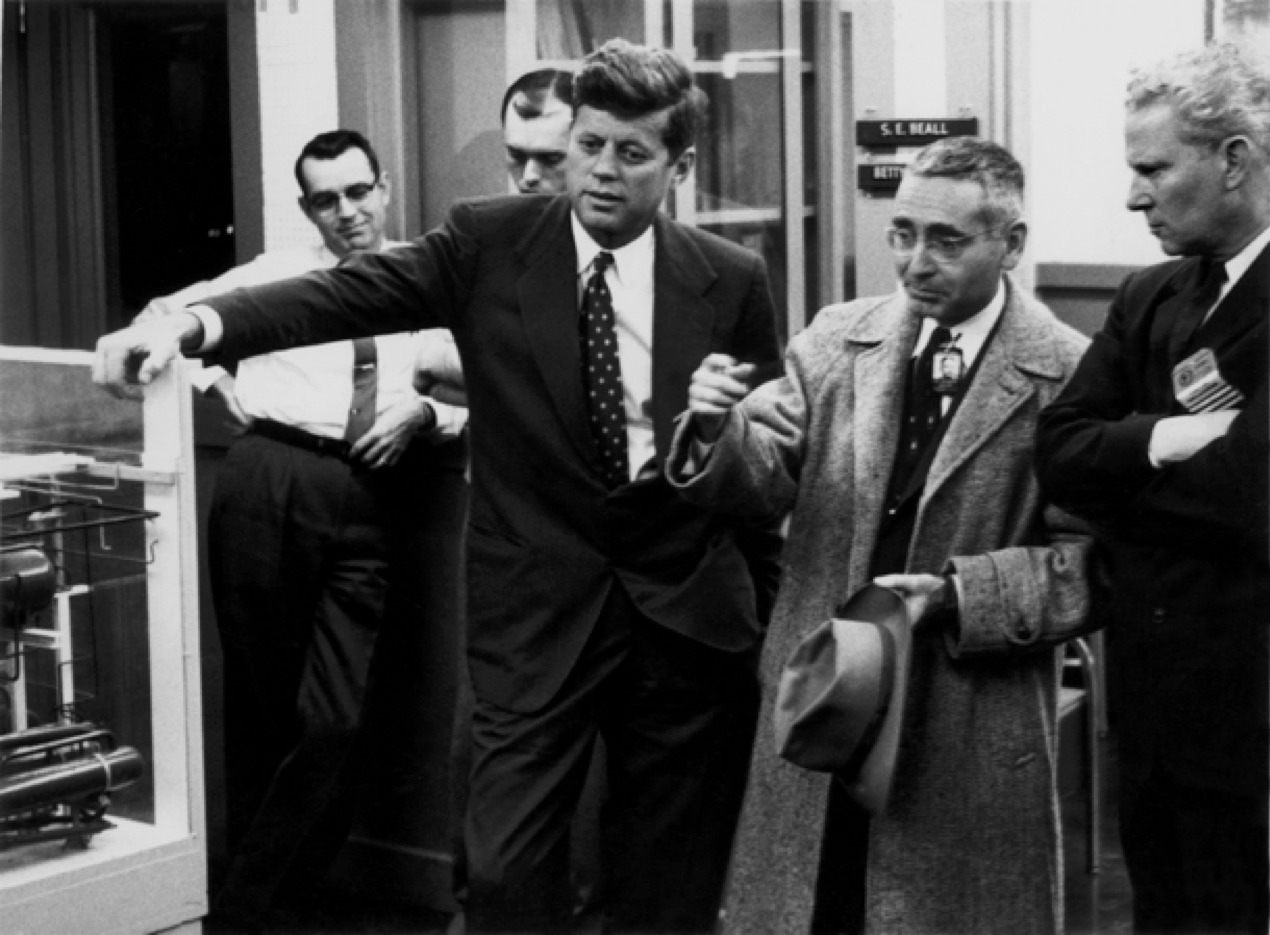 Senator John Kennedy and Senator Gore (senior) flank Alvin Weinberg at ORNL
