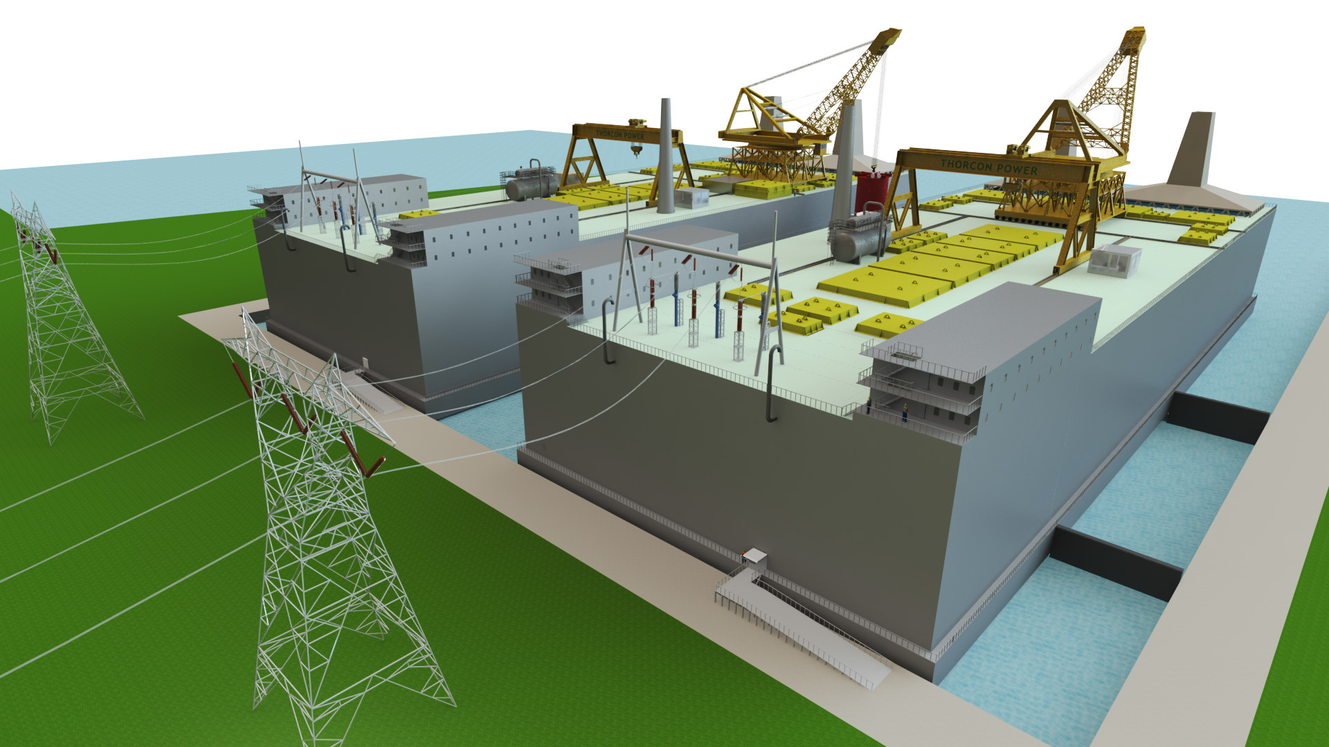 two 500 mw thorcon shoreside power plants supplying the power grid